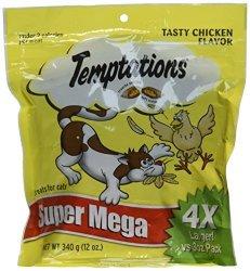 """Whiskas Temptations Cat Treats Tasty Chicken Flavor 12 Oz """"super Mega"""" Bag"""