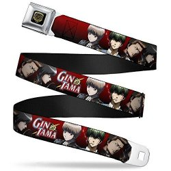 """Buckle-down Seatbelt Belt - Gin Tama 4-CHARACTER Group Poses Red-black Fade - 1.5"""" Wide - 24-38 Inches In Length"""