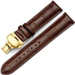 Raylans 14-24MM Genuine Leather Watch Band Replacement Steel Deployant Clasps Watch Strap Brown 1 16MM