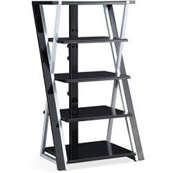 "Whalen 48"" Black Audio Video Tower Tempered Glass Shelves"