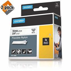 """Dymo Industrial Flexible Nylon Labels 3 4"""" Black On White 18489 Dymo Authentic - 2 Pack"""