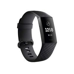 Fitbit Charge 3 Fitness Activity Tracker Graphite black One Size S & L Bands Included