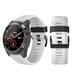 Insaneness Soft Silicone Replacement Sport Wirst Watchband Strap For Garmin Fenix 5X Plus White