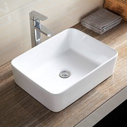 "Mecor 19"" X 15"" Bathroom Rectangle Vessel Sink Porcelain Bowl Vanity Basin With Pop Up Drain White Ceramic"