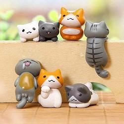 Deemoshop 6PCS Hot New Funny Climbing Cats MINI Cute Figurines Garden Miniatures Ornaments Glass Moss Status