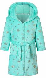 Girl's Robe Fashion Star Printed Hooded Soft Warm Fleece Plush Bathrobes Sleepwear With Belt And Pockets Green Star 7-8 Years = Tag 140