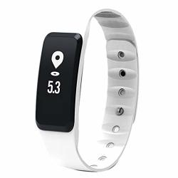 Activity Tracker Fitness Tracker Activity Color Screen IP67 Waterproof Shower Gps Tracker Compatible Android Iphone Ms. Pedometer Color : White