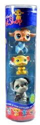 "Hasbro Year 2007 Littlest Pet Shop Tube ""winter Season"" Series 3 Pack Bobble Head Pet Figure Set 63439 - Light Brown Baby Lamb 447 With Scarf Yel"