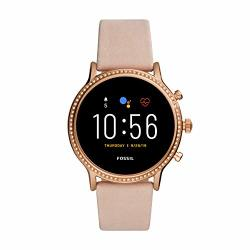 Gen Fossil 5 Julianna Hr Heart Rate Stainless Steel And Leather Touchscreen Smartwatch Color: Rose Gold Blush Model: FTW6054