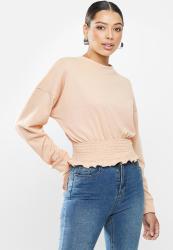 Missguided Shirred Hem Oversized Sweatshirt - Cream