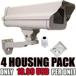 VENTECH SECURITY Ventech 4 Pack Outdoor Weatherproof Heavy Duty Aluminum Cctv Housing Security Surveillance Camera Housing Camera Mount Enclosure With Bracket