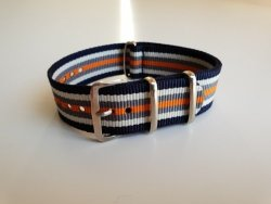 NATO 20MM Watch Strap Navy white grey orange