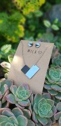 Mila Necklace & Earrings - Black & Blue