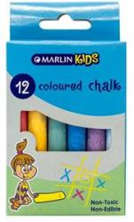 Marlin Kids Coloured Chalk Pack Of 12 Non-toxic Non Edible Allows For Smooth Drawing And Writing On Chalk Board Retail Packaging No Warranty