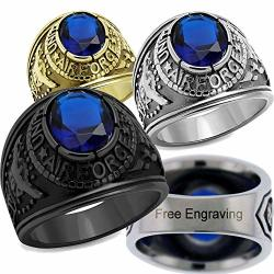 Yvo Personalized Air Force Ring - Free Engraving Included - Black - Size 9