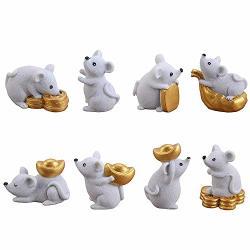 Yaikoai 8 Pcs Miniature Rat Figures Office Table Desk Diy Dollhouse Decoration Figurines Resin Money Aborable Rats Animal Ornaments Statue For Garden Car Dashboard Gift-gray