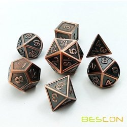 NEW STYLE Bescon Copper Solid Metal Polyhedral D&d Dice Set Of 7 Copper Metallic Rpg Role Playing Game Dice 7PCS Set D4-D20