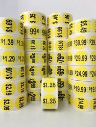 "1000 Labels 1.5"" Round Yellow $29.99 Pricing Price Point Retail Stickers 1 Roll"