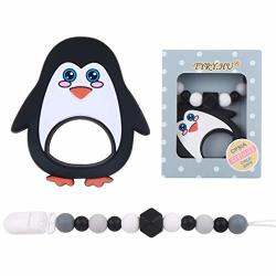 TYRY.HU Baby Teething Toys Bpa Free Soft Silicone Teething Relief Penguin Teether With Pacifier Clip Binky Holder Set For Baby Shower Gift