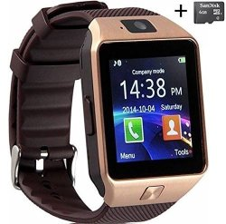 Amazingforless Rose Gold Bluetooth Touch Screen Smart Wrist Watch With Camera And 4GB Micro Sd Card