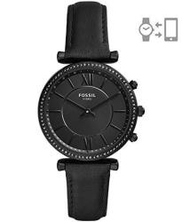 Fossil Women's Hybrid Smartwatch Stainless Steel Watch With Leather Strap Black 16 Model: FTW5038