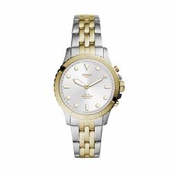 Women's Fossil FB-01 Stainless Steel Hybrid Smartwatch Color: 2T Silver gold Model: FTW5071