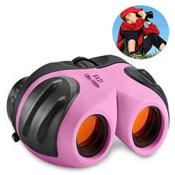 DIMY Gifts For Teen Girl Compact Watreproof Binocular For Kids Toys For 3-12 Year Old Girls Light Pink DL09