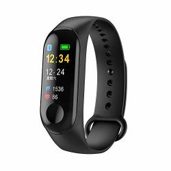 InDigi Universal M3 Compatible With Bluetooth Ios & Android Fitness Tracker & Smartwatch Blood Pressure oxygen - Pedometer - Heart Rate Black