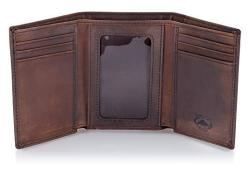 Stealth Mode Trifold Rfid Blocking Brown Leather Wallet For Men