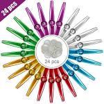 Atropos 24 Pcs Multicolor Metal Kazoos Musical Instruments Flutes With 24 Pcs Kazoo Flute Diaphragms Good Companion For Guitar U