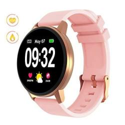 Gokoo Smart Watch For Women With All-day Heart Rate Blood Pressure Sleep Monitor Waterproof Calorie Counter 1.22 Inch Full Touch
