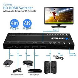 Orei Ultra HD HDMI 4 X 1 Switcher With Arc Out 18G Audio Extractor Ir Remote - Supports Upto 4K @ 60HZ - 4