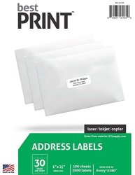 "BestPrint 30 Up - Best Print Address Labels - 1"" X 2-5 8"" 3 000 Labels"