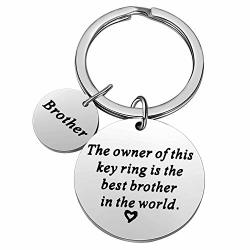 Nimteve Christmas Gifts For Family Member Grandma Grandpa Mom Dad Sister Brother Keychain Key Ring Love Funny Gifts Best Brother In The World