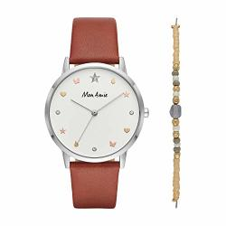 Mon Amie Women's 'supports Education' Quartz Metal And Leather Casual Watch Color:brown Model: CBMA2505
