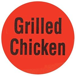 """Grilled Chicken"""" Labels Red Deli Dot Packaging Labels Black Imprint - 1""""DIA 1000 Per Roll"""