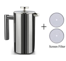 Brightown Double Wall Stainless Steel French Coffee Press With 2 Extra Screen Filters 1 LITER 34 Oz Coffee Maker