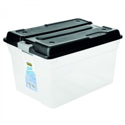 Addis 56l Clear Storage Box With Black Lid