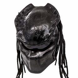 Predator Motorcycle Helmet - Dot Approved - Unisex - Black Spiked