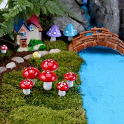 Guanan Figurines Miniatures - Figurines Miniatures Silver Metal Figurines Miniatures Garden Mushroom Min - 2019 Cute 10PCS MINI Mushroom Terrarium Figurines Fairy Garden Party