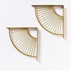 Wgx Shelf Brackets Wall display Shelf Hung Bracket Diy Shelf Gold 2PCS-PACK