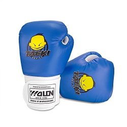 Kuyou Kids Boxing Gloves Pu Kids Children Cartoon Sparring Boxing Gloves Training Age 5-12 Years Blue