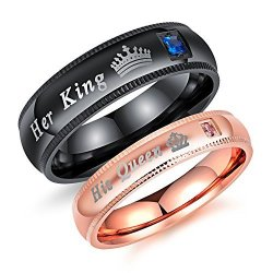 Fashion Ahead 2 Pcs Matching Set Couple Rings His Queen And Her King Stainless Steel Promise Rings Engagement Band Valentine's D