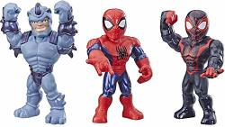 "Playskool Heroes Mega Mighties Marvel Super Hero Adventures Web Warriors 3 Pack Spider-man Kid Arachnid Marvel's Rhino 10"" Figures Kids Ages 3 & Up"