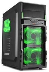 Sharkoon VG5-W Midi Tower PC Gaming Case Green With Window USB 3.0