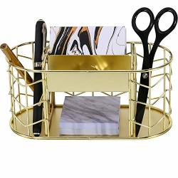 DESK Nugorise Supplies Organizer 5 Compartments - 2 Pen Holders 2 Slot Business Card Holder And Memo Holder Multifunctional Wire Stationery Storage Caddy Gold