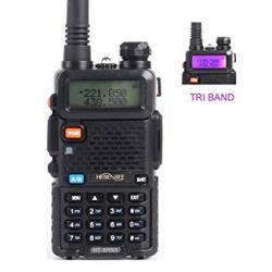 Hesenate HT-5RX3 Tri-band Handheld Transceiver 136-174MHZ 220-260MHZ 400-520MHZ Two Way Radio Walkie Talkie Ham