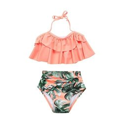 Beautyvan Clearance Deals Baby Bikini Set 2018 Hot New Lovely Beautiful 2PCS Toddler Baby Girls Ruffles Swimwear Bathing Set Outfits Swimsuit Us 4T=ASIAN 5T Pink