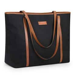 """S-zone 15.6"""" Leather Laptop Bag For Women Shoulder Bag Large Work Tote With Padded Compartment"""
