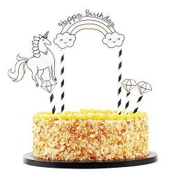 QIYNAO Diamond Unicorn Paper Cards Cake Topper And Rainbow Happy Birthday Toppers